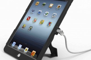 iPad_盗難防止_スタンド_回転機能付き_セキュリティケーブル_ワイヤーロック_黒
