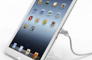 iPad_盗難防止_スタンド_回転機能付き_セキュリティケーブル_ワイヤーロック_クリア